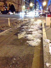 Ice in the L St cycletrack - why I'm not biking
