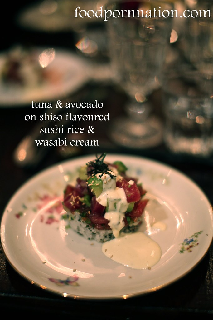 Tuna Tartare - Tuna & Avocado, Hand chopped Tuna with Spring Onions & Soy Sauce on Shiso-flavoured Sushi Rice, Wasabi Cream