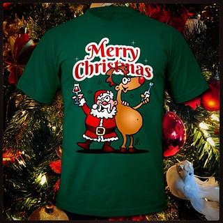 Merry Christmas. Santa Claus and his reindeer having  a drink. #Tshirt  #Tshirtdesign  #Santa #Kerstman #Christmas #Xmas #Kerstmis #Kerst #Cardvibes #Tekenaartje  #Spreadshirt #Zazzle  #Redbubble  #Society6  #Skreened  #drawing  #tekening  #dailysketch  #