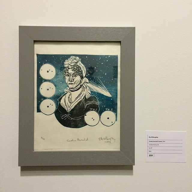 Ele Willoughby's linocut print of astronomer Caroline Herschel representing us at the EAST group show! Visit us at #359 on this year's tour!