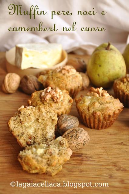 muffin pere noci e cuore di camembert