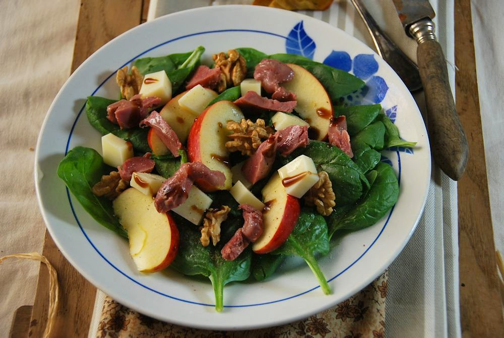Salade composée d'automne épinard et gésier