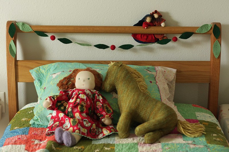 Christmas garland for her bed