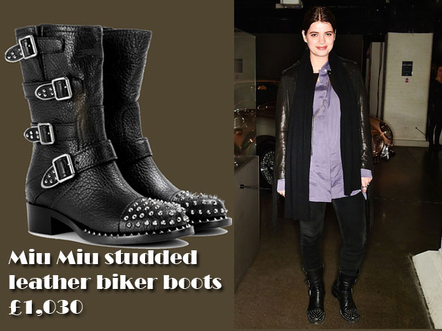 Miu-Miu-studded-leather-biker-boots,studded biker boots, studded boots, biker boots, Miu Miu studded leather boots, androgynous look,  purple satin oversized shirt, purple satin shirt, oversized shirt, Miu Miu studded leather biker boots, androgynous rock chic look, rock chic look