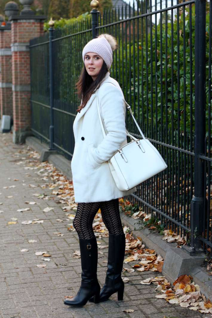 white winter coat tall boots white purse