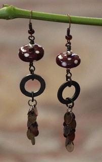 Maroon, White and Copper Porcelain Drop Earring Set E-0155