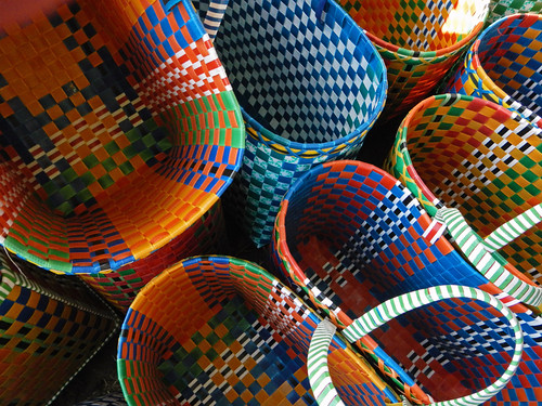 Colored Baskets For Sale At the Weekly Market in the Village at the End of Inle Lake (Myanmar)