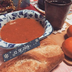 -1C soup morning! #veggies #soup #baguette #mikan #coffee #breakfast #japan