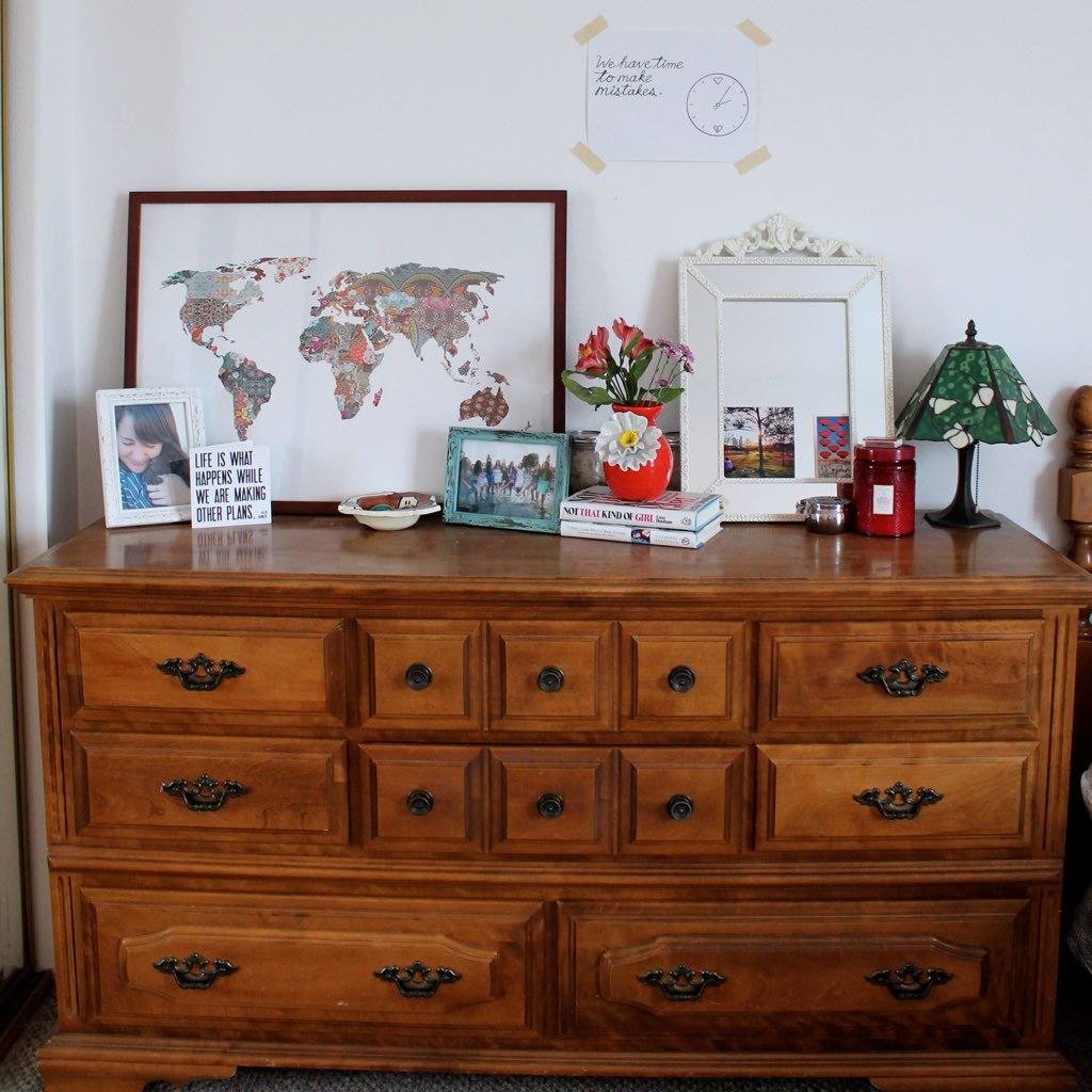 how to decorate a vintage dresser