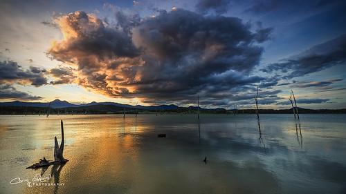 sunset cloud lake reflection australia queensland lakemoogerah