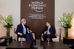 U.S. Secretary of State John Kerry sits with Cyprus President Nicos Anastasiades on January 23, 2015, before the two began a bilateral meeting on the sidelines of the World Economic Forum in Davos, Switzerland. [State Department Photo/Public Domain]