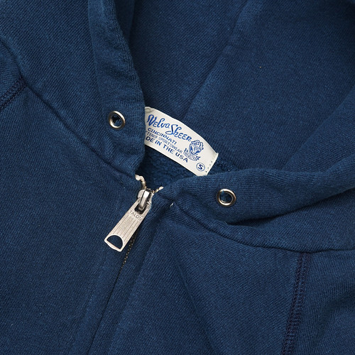 Velva Sheen / Indigo Hooded W-Zip Sweat