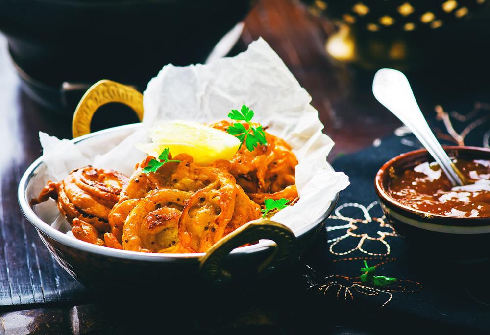 onions  bhaji with mango chutney