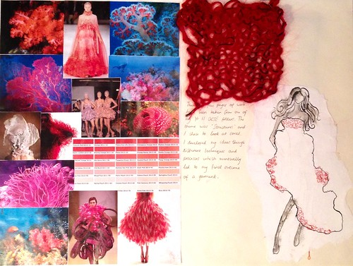 Sketchbook page showing mood board, fashion illustration and knitted sample