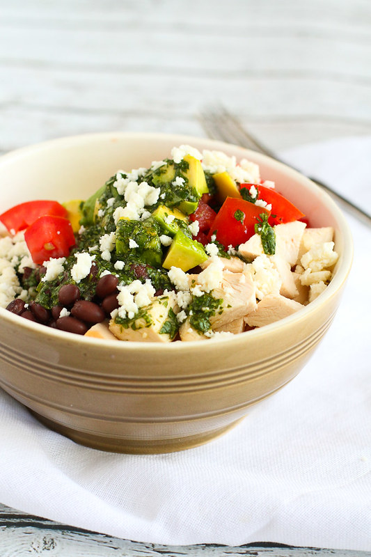 Quick Chicken Burrito Bowl with Cilantro Dressing…When using rotisserie chicken, this healthy dinner takes only minutes to put together. 363 calories per serving.