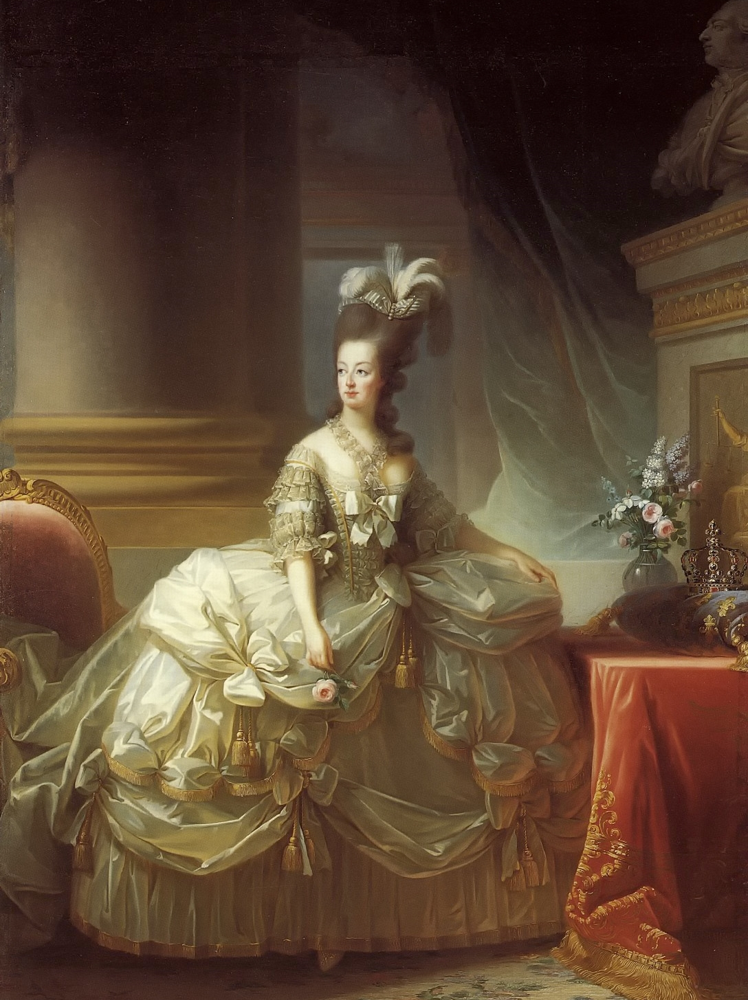Marie Antoinette in a court dress worn over extremely wide panniers, Louise Élisabeth Vigée Le Brun, 1778