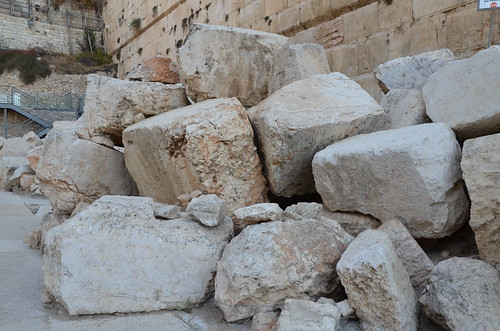 Fallen stones from 70 AD Temple Mount destruction in Jerusalem by Romans, Jerusalem Archaeological Garden and Davidson Center