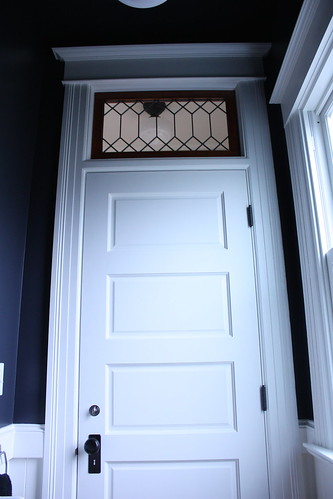 Bathroom Door and Leaded Glass Transom
