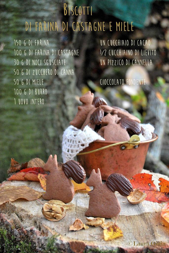 Biscottti di farina di castagne e miele con cioccolato e noci