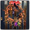 We borrowed mum's Halloween wreath (which she made) for our front door. A giant plastic spider fell out of it and scared the bejeezus out of me.