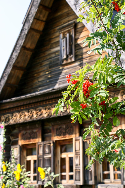 Russian old house in Summer, Suzdal, Russia スズダリ、木造建築博物館のロシア民家