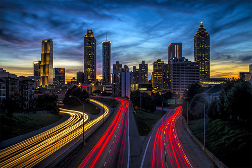 7d atl atlanta ga georgia markchandler night skyline canon city cityscape color colour light longexposure photo photography jacksonst jackson st street bridge buildings nightscenes nightscene silhouette sunset freedomparkway