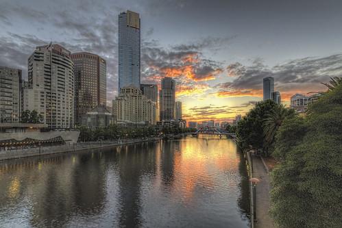 sunset australia melbourne yarrariver