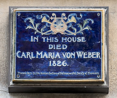 Photo of Carl Maria von Weber blue plaque
