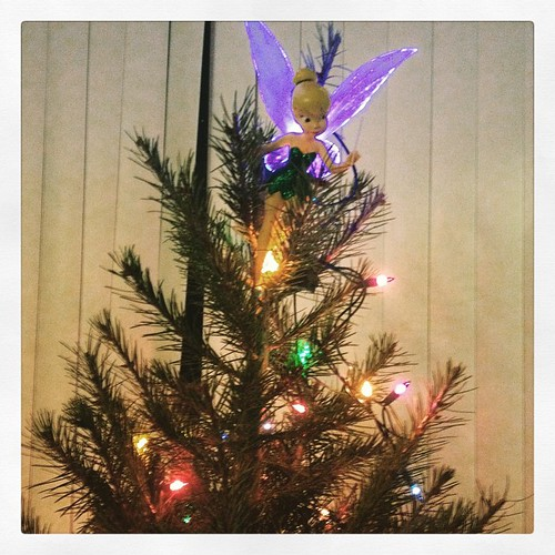 Put lights and Tinkerbell up on the tree. Will decorate for reals when everyone is here tomorrow. #christmas #tinkerbell #decorations #disney