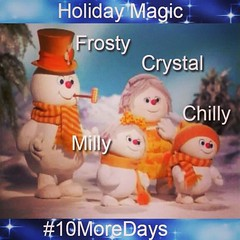 Meet the Frosties! #Crystal #Wife #Milly #Daughter #Chilly #Son #Frosty #TheFrosties #FrostyTheSnowman #HappyHolidays #TheHolidays #HappyHoliday #HappyMonday #HappyDecember #10MoreDays
