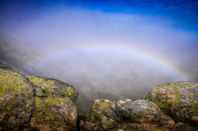 fog, stone, rainbow