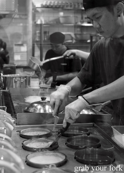 Apam balik station next to the grill in the kitchen at Hawker Malaysian, Sydney