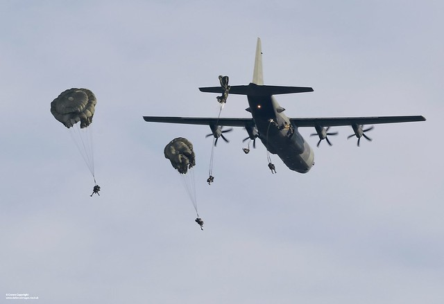 Paratroopers Jumping from a Hercules Aircraft Over Salisbury Plain