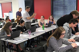 Students being helped by the session facilitator and others. Photo by Kristina Hoeppner