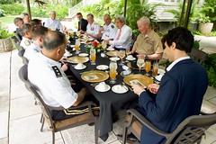 U.S. Secretary of State John Kerry, hosted by U.S. Navy Admiral Harry Harris, Commander of Pacific Command, receives a briefing from Pacific Theater Combatant Commanders after arriving at Joint Base Pearl Harbor-Hickam, Hawaii, on May 25, 2016, amid his travels back to Washington, D.C., from joining President Obama's trip to Vietnam. [State Department photo/ Public Domain]