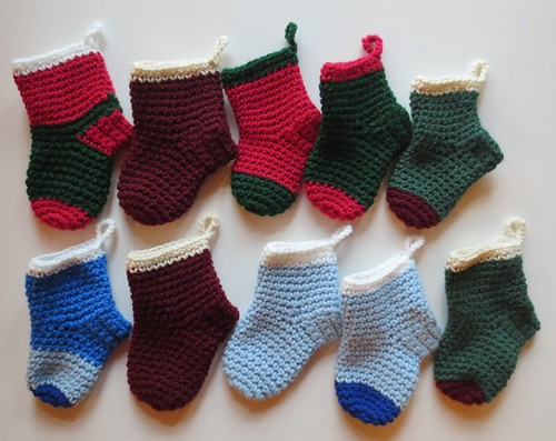 Crocheting More Mini Christmas Stockings