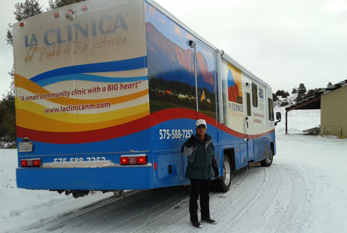 Mobile medical and dental clinic owned by Tierra Amarillas' La Clinica del Pueblo de Rio Arriba. The purchase of the vehicle was made possible by donations through United Way of Northern New Mexico.