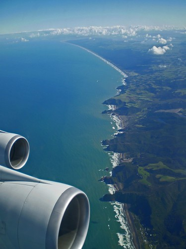 new west beach coast flying view zealand planes boeing 747