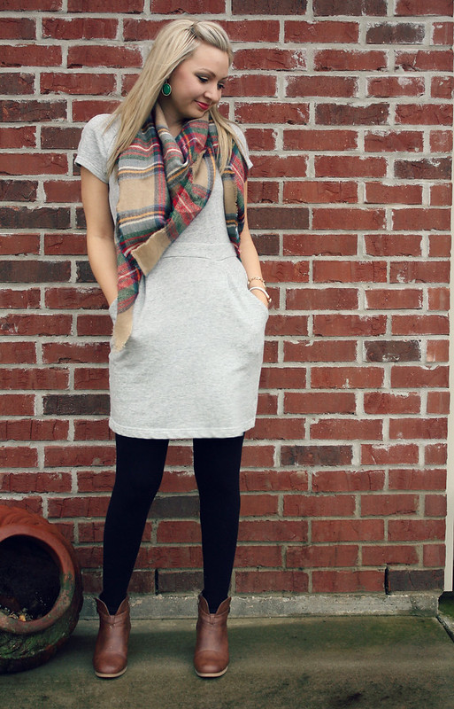 sweatshirt dress + tartan scarf