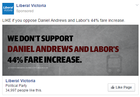 Online advertising, November 2014 Victorian election