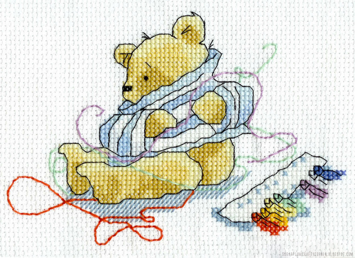 Cross Stitched Baxter Bear