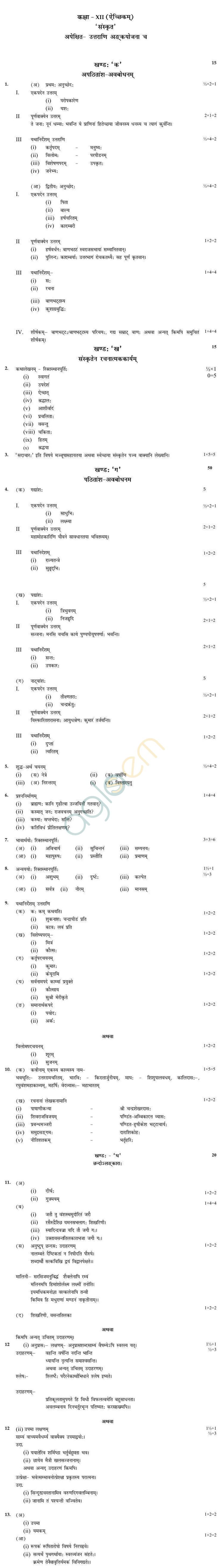 CBSE Class XII Marking Scheme 2015 Sanskrit (Elective)