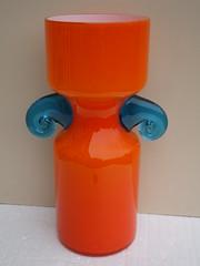 Vivid Orange & Blue Cased Art Glass Vase Retro Chic