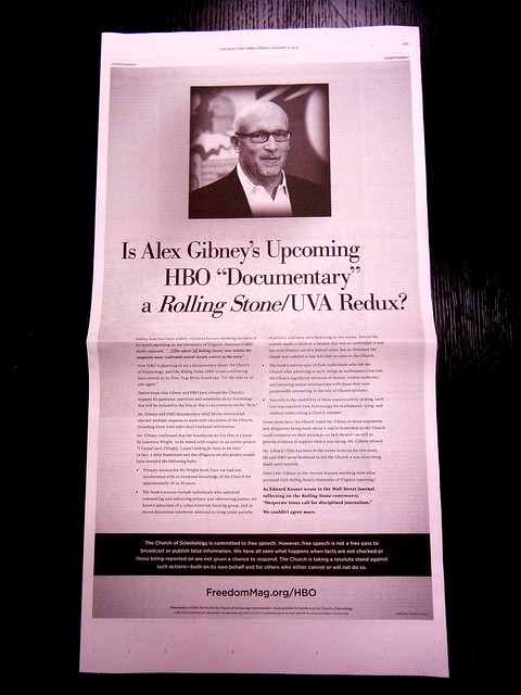 Scientology Attacks Filmmaker Alex Gibney with New York Times ad
