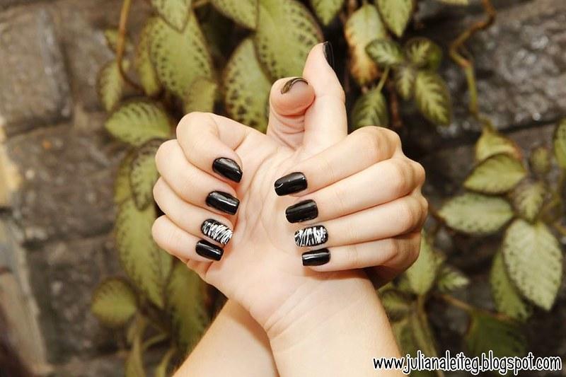 unha decorada juliana leite nail art preto e branco chic classica filha unica pintar uma unha so como fazer as unhas  05