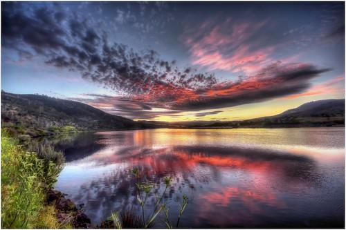 sunset sky reflection water reflections river derwentvalley australia dromedary tasmania derwentriver riverderwent canoneos550d sigma816 trainsintasmania latelighting stevebromley