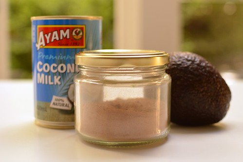 Smoothie mix, coconut milk, avocado