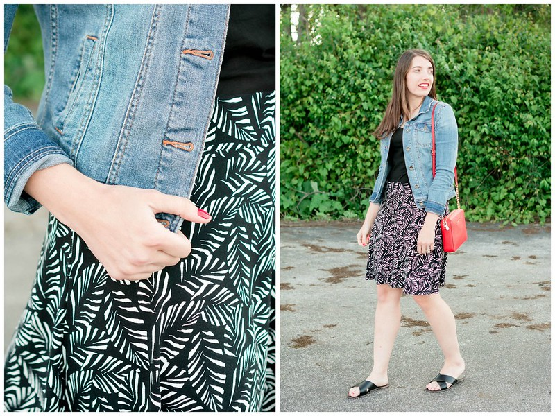 denim jacket + loft palm print skirt + black tee + red purse; casual summer outfit Style On Target