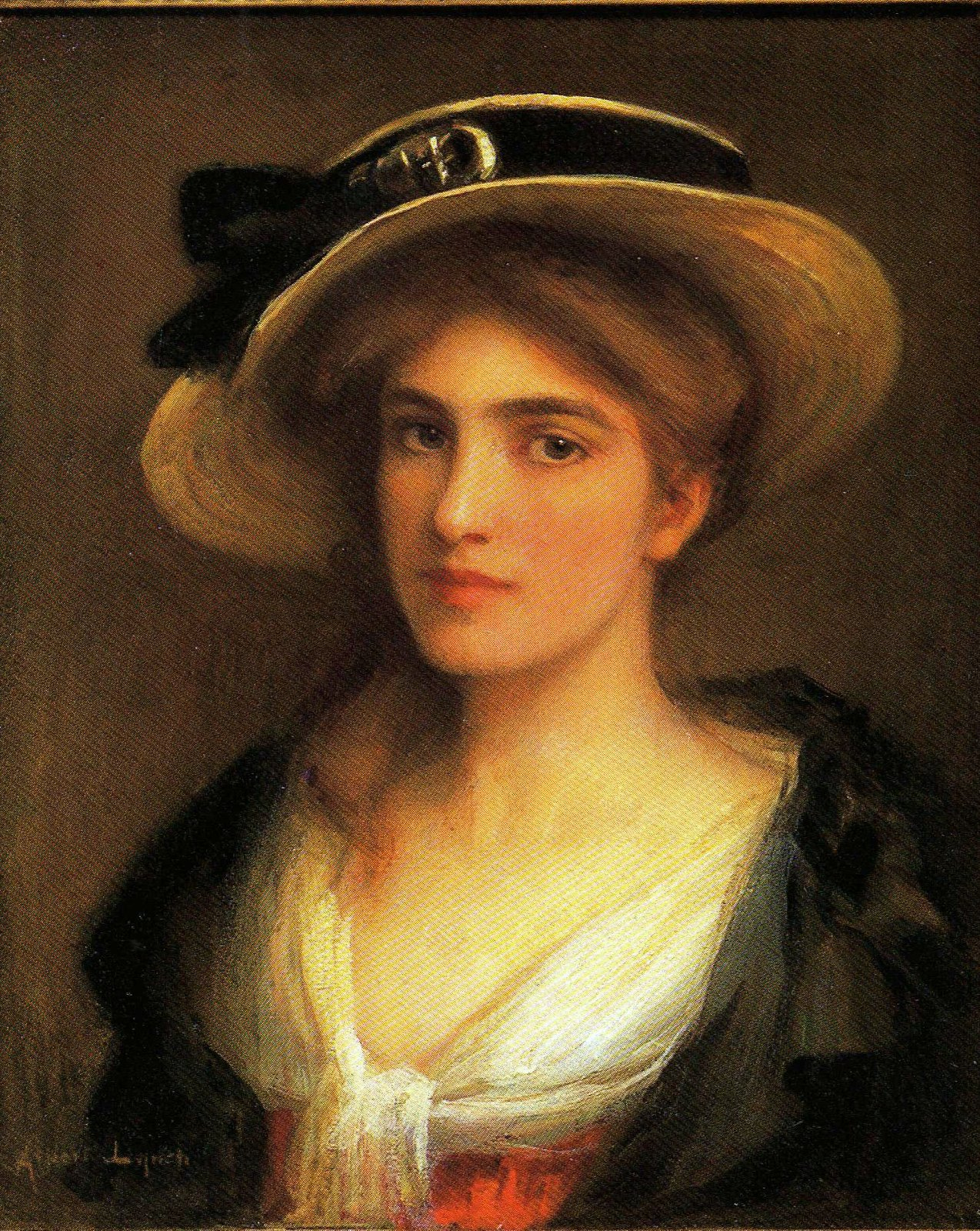 Young woman with hat by Albert Lynch