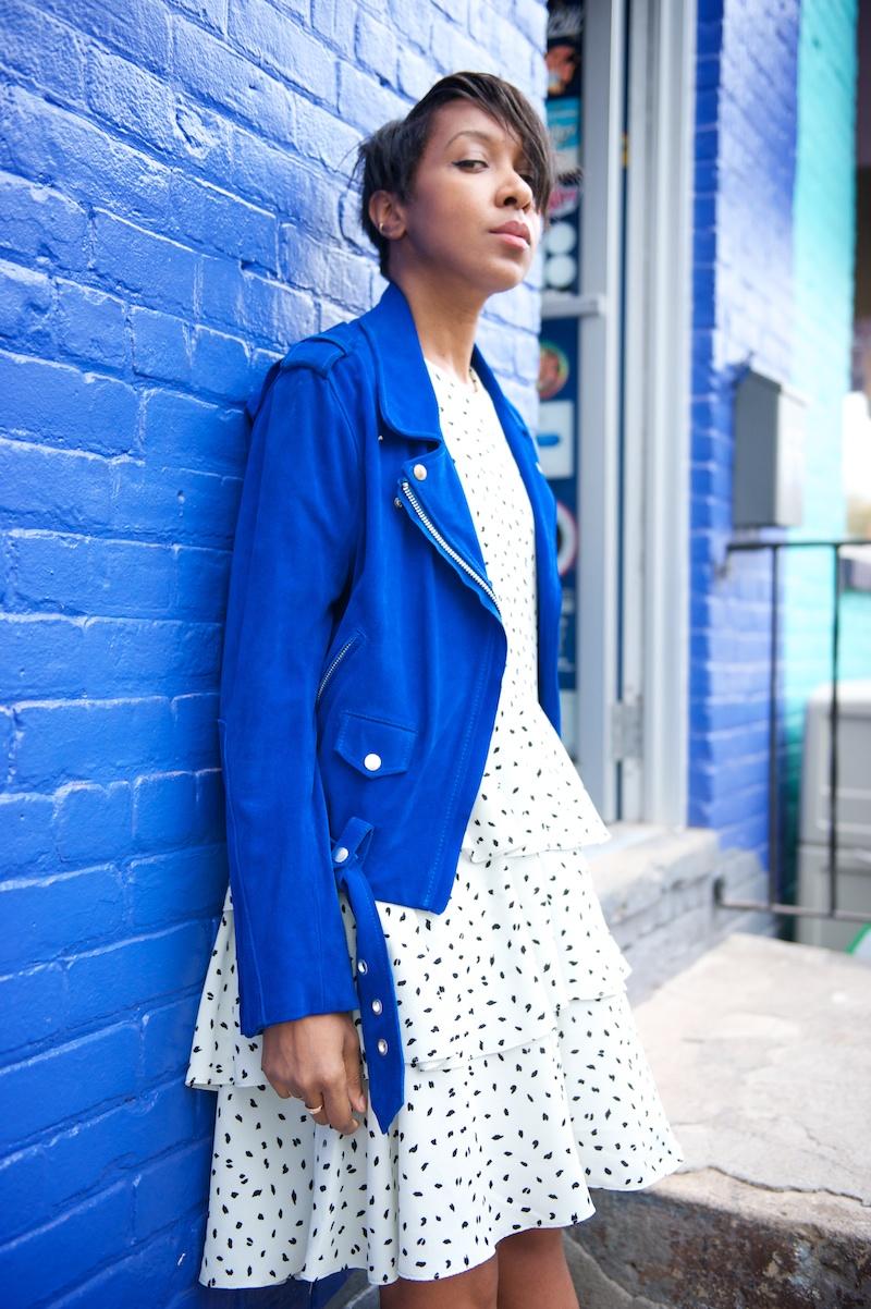 acne blue suede jacket